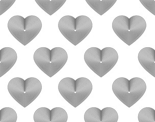 Seamless hearts pattern fine lines on white background