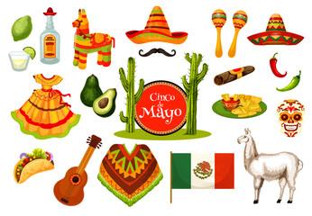 Cinco de Mayo mexican fiesta party icon design