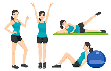 Presentation idea fitness or gym concept women general exercise on their own at home. Lady Basic health care.