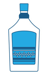 mexican tequila bottle icon over white background, blue shading design. vector illustration
