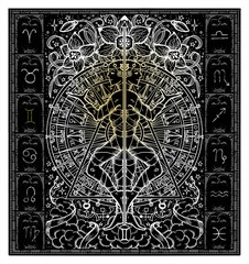 White silhouette of fantasy Zodiac sign Gemini in gothic frame on black. Hand drawn engraved illustration