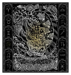 White silhouette of fantasy Zodiac sign Cancer in gothic frame on black. Hand drawn engraved illustration