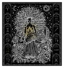 White silhouette of fantasy Zodiac sign Leo in gothic frame on black. Hand drawn engraved illustration