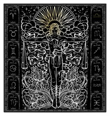 White silhouette of fantasy Zodiac sign Libra in gothic frame on black. Hand drawn engraved illustration