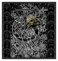 White silhouette of fantasy Zodiac sign Scorpio in gothic frame on black. Hand drawn engraved illustration