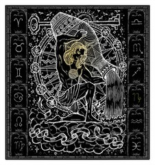 White silhouette of fantasy Zodiac sign Aquarius in gothic frame on black. Hand drawn engraved illustration