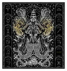 White silhouette of fantasy Zodiac sign Pisces in gothic frame on black. Hand drawn engraved illustration