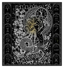 White silhouette of fantasy Zodiac sign Capricorn in gothic frame on black. Hand drawn engraved illustration