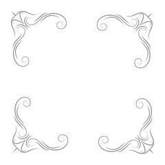 Calligraphic corners and decorative elements. Filigree flourish corners. Vector illustration.