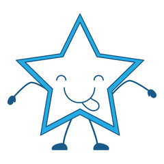 kawaii star showing the tongue over white background, blue shading vector illustration