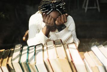 Black woman with depressed emotion