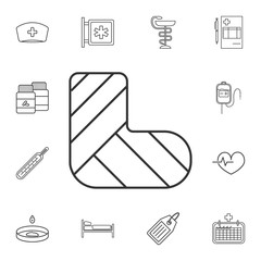 Gypsum or cast foot icon. Broken leg sign. Detailed set of medicine outline icons. Premium quality graphic design icon. One of the collection icons for websites, web design, mobile