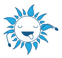kawaii sun showing the tongue over white background, blue shading design. vector illustration