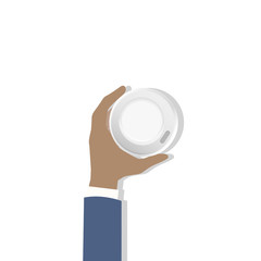 Illustration of hand holding coffee