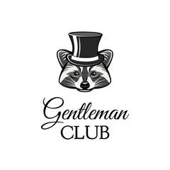 Raccon gentleman in top hat. Gentleman club text. Vector illustration.