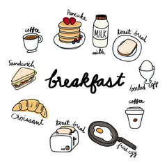 Illustration drawing style of food breakfast collection
