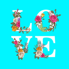 floral love Typography