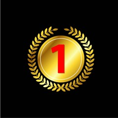 Number 1 Gold Vector Template Design