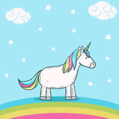 Poster Voor kinderen cute unicorn with donut rainbow illustration