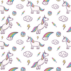 cute unicorn with donut rainbow  illustration seamless pattern