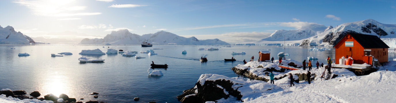 Snowy views from the Brown Station on Paradise Harbor / Island in Antarctica.