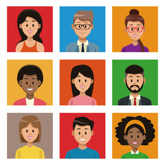 People cartoon on colorful squares vector illustration graphic design