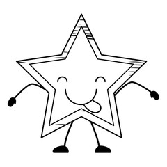 sketch of kawaii star showing the tongue over white background, vector illustration