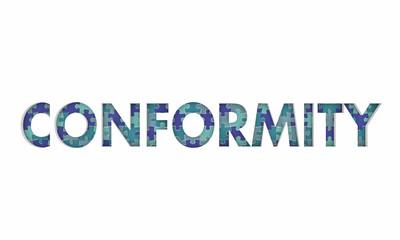 Conformity Follow Rules Norms Compliance Puzzle Pieces 3d Illustration