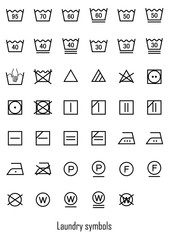 laundry symbols icon set