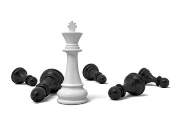 3d rendering of a single standing white chess king piece among many fallen black pawns.
