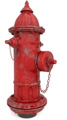 Big, red, metal fire hydrant, isolated on the white background