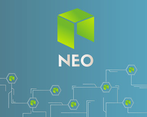 Cryptocurrency NEO circuit style background