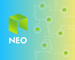 Cryptocurrency NEO technology connected style background