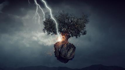 Bright lightning hit the tree
