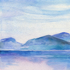 Ocean landscape, Sea side, Beach. Beautiful watercolor hand painting illustration