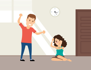 domestic violence man beating woman concept