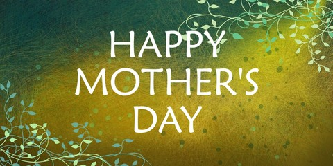 happy mother's day background with beautiful ivy vine border design and a variety of grunge textures