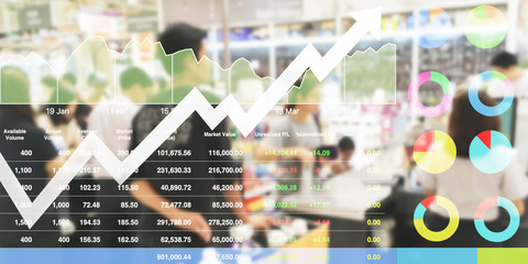 stock data index analysis data shown investment on promotion event shopping raise up with chart and graph background.