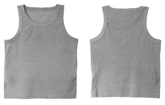 Blank tank top color grey front and back view on white background