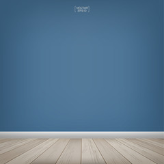 Empty wooden room space with blue concrete wall background. Vector illustration.