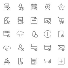 Add objects outline icons set. linear style symbols collection, line signs pack. vector graphics. Set includes icons as add list, microphone, calendar , favorites, music, address book, floppy disk