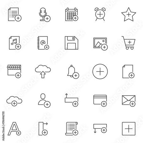 Add Objects Outline Icons Set Linear Style Symbols Collection Line