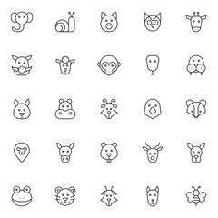 Animals heads outline icons set. linear style symbols collection, line signs pack. vector graphics. Set includes icons as elephant head, snail, pig, owl, giraffe, boar, sheep, monkey, snake walrus