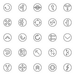 Arrows variety outline icons set. linear style symbols collection, line signs pack. vector graphics. Set includes icons as reload, left and straight, close the door, upper , two way, connector