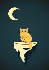 A cute cat on a flying island, in the moonlight. Vector cartoon illustration.