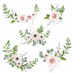 Vector designer elements set collection of green forest leaves, and flowers in watercolor style.