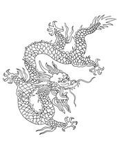 chinese dragon pattern illustration,hand drawn painting