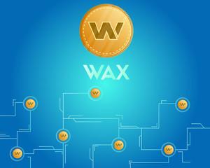 Blockchain wax cryptocurrency digital virtual background