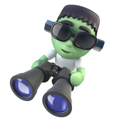 3d Funny cartoon frankenstein halloween monster holding a pair of binoculars