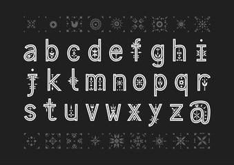 Vector lowercase alphabet. Decorative letters with patternded negative space.